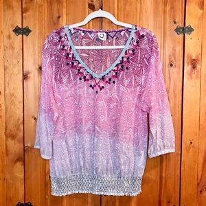 Anthropologie Colorful Embroidered Top